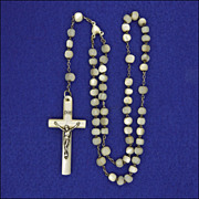 French Mother of Pearl and Silver First Communion Rosary