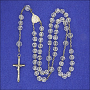 French Circa 1910 Crystal Glass & Silver Rosary with Crucifix - Red Tag Sale Item