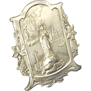 French Art Nouveau Silver Plated Our Lady of Lourdes Standing Plaque