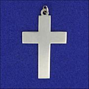 English Sterling Silver Plain Cross Pendant - Hallmarked 1975