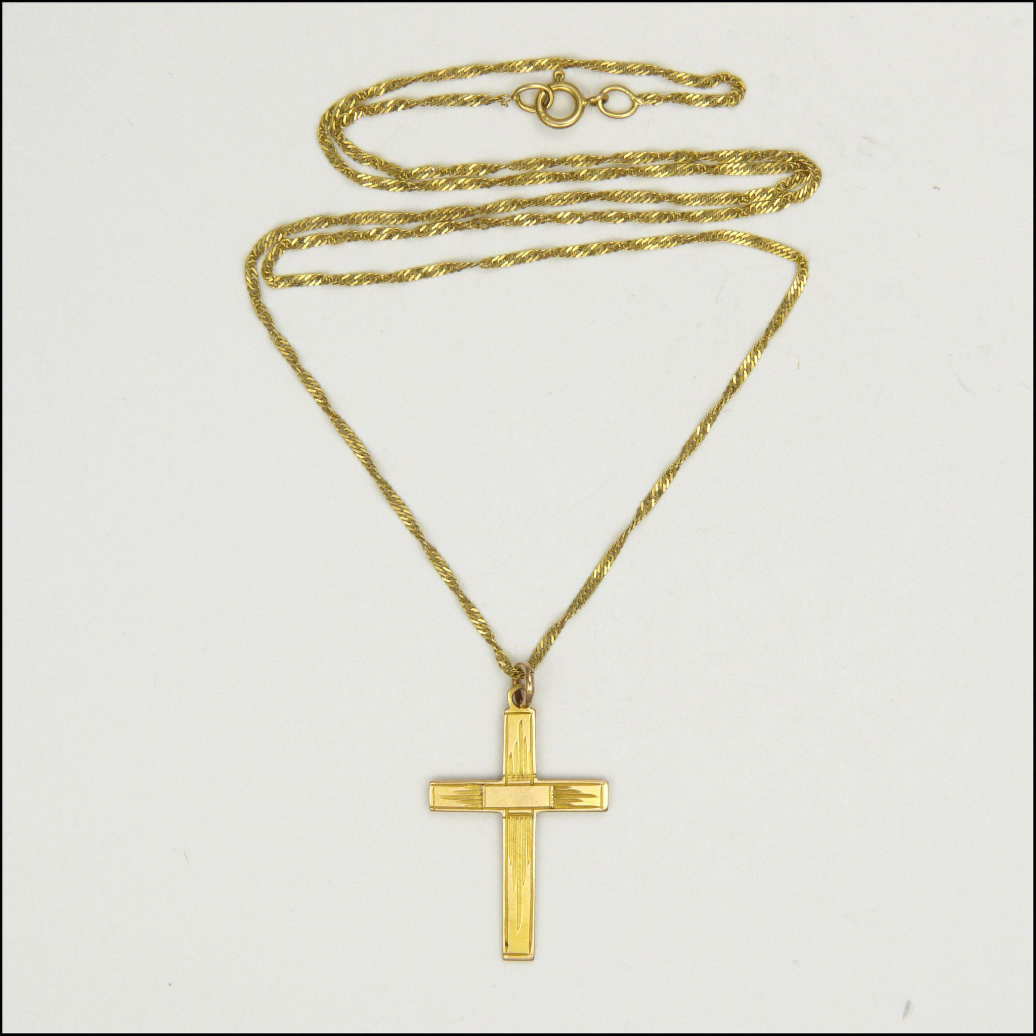 9 Carat Gold Cross and Chain Necklace from ...