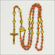 French Circa 1900-1910 Coral & Gold Plated Short Rosary