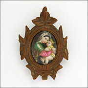 French Circa 1900 Wooden Framed Ceramic Mary & Jesus Standing Plaque - Red Tag Sale Item
