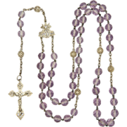French Circa 1910 Silver and Lavender Glass Rosary