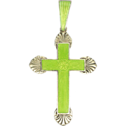 Sterling Silver Enamelled Cross Pendant with Flower Design