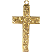 Victorian 9K Gold Engraved Cross -2.5 grams