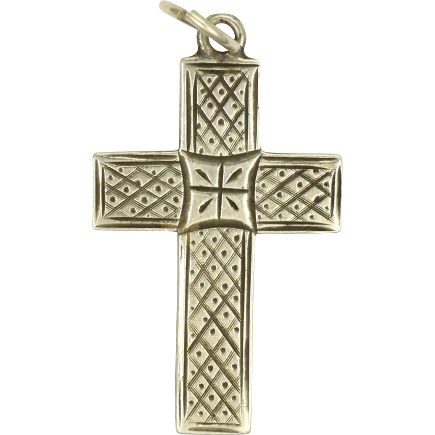 1884 sterling silver engraved cross pendant sold