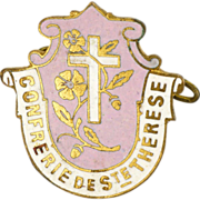 French Enamel Pin or Badge -Cross of St Thérèse of Lisieux