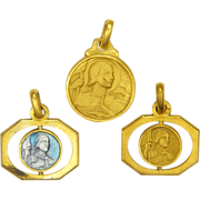 A Trio of Miniature French Joan of Arc Medals or Charms