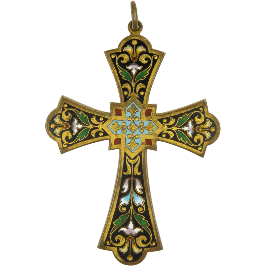 Victorian Arts And Crafts Gilt Brass Enamel Cross From