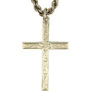 English Sterling Silver Cross 1976 with Silver Rope Chain - 28.8 grams