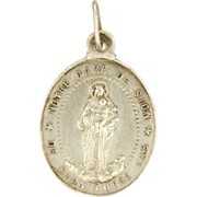 French 19C Silver Virgin Mary & Child Medal