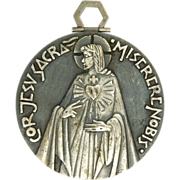 French PY Jesus and Sacred Heart Extra Large Medal