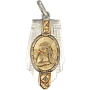 French Art Deco Silver and Gold Plated Angel Medal or Charm - L THIERY