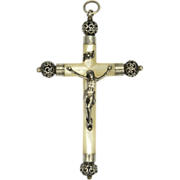 French Victorian Silver & Mother of Pearl Crucifix