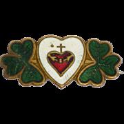 Enamel Sacred Heart and Shamrock Pin