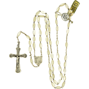 French Art Deco Silver and Mother of Pearl Rosary - New Old Stock