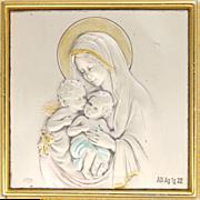 Italian Virgin Mary  and Child Jesus with Cherub Standing Plaque