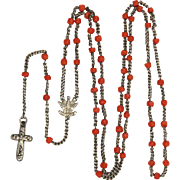 French Art Deco Coral and Silver Rosay