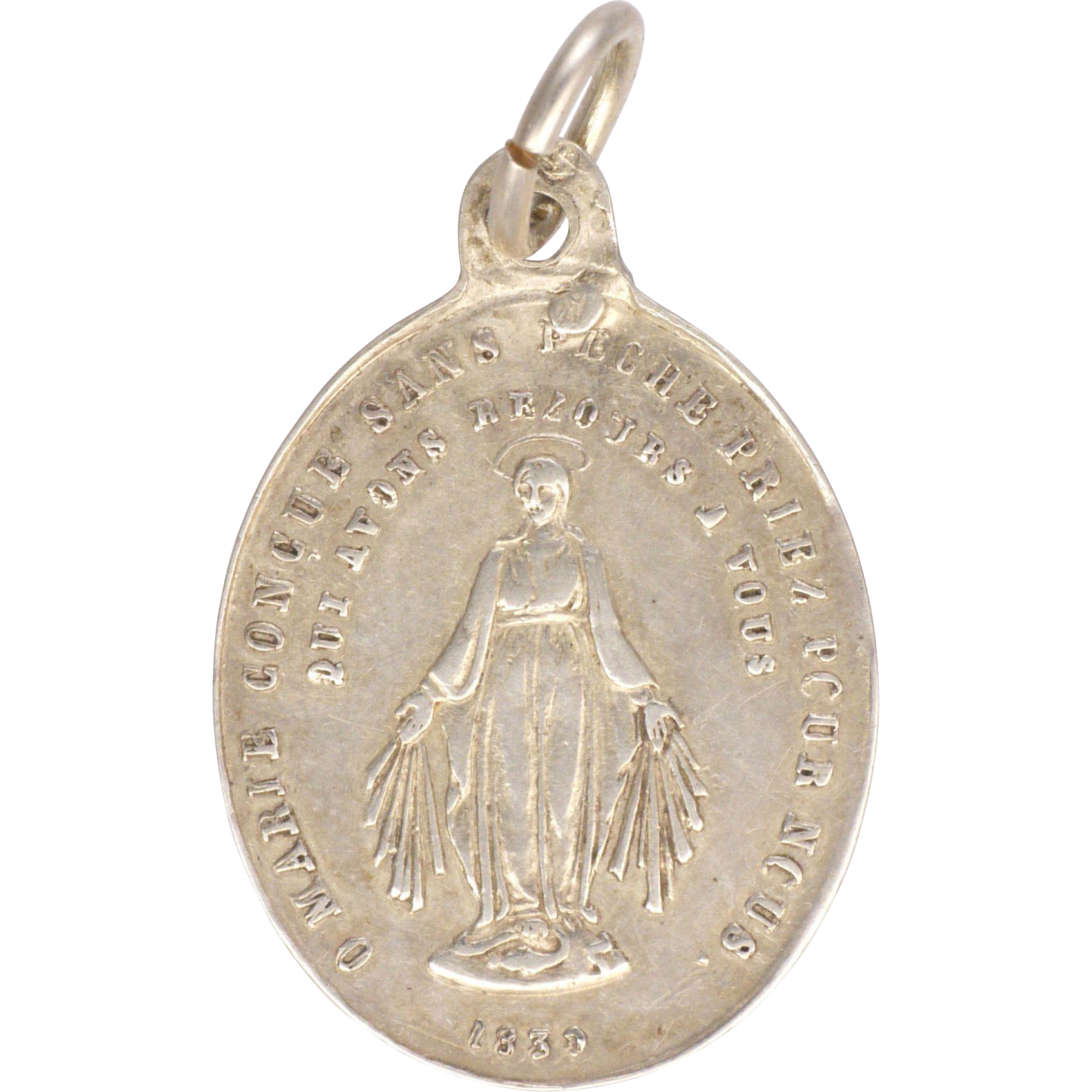 French Circa 1880 Small Silver Miraculous Medal From