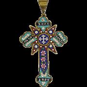 "Large Rome 1900 Italian Micro-Mosaic Cross - 4 and 7/16"""