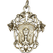 French Art Nouveau Silver Lilies Communion Medal/Pendant