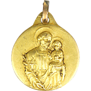 French Gold Filled Small Joseph and Jesus Medal