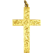 English Circa 1900 9K Gold Engraved Cross Pendant -FB&S