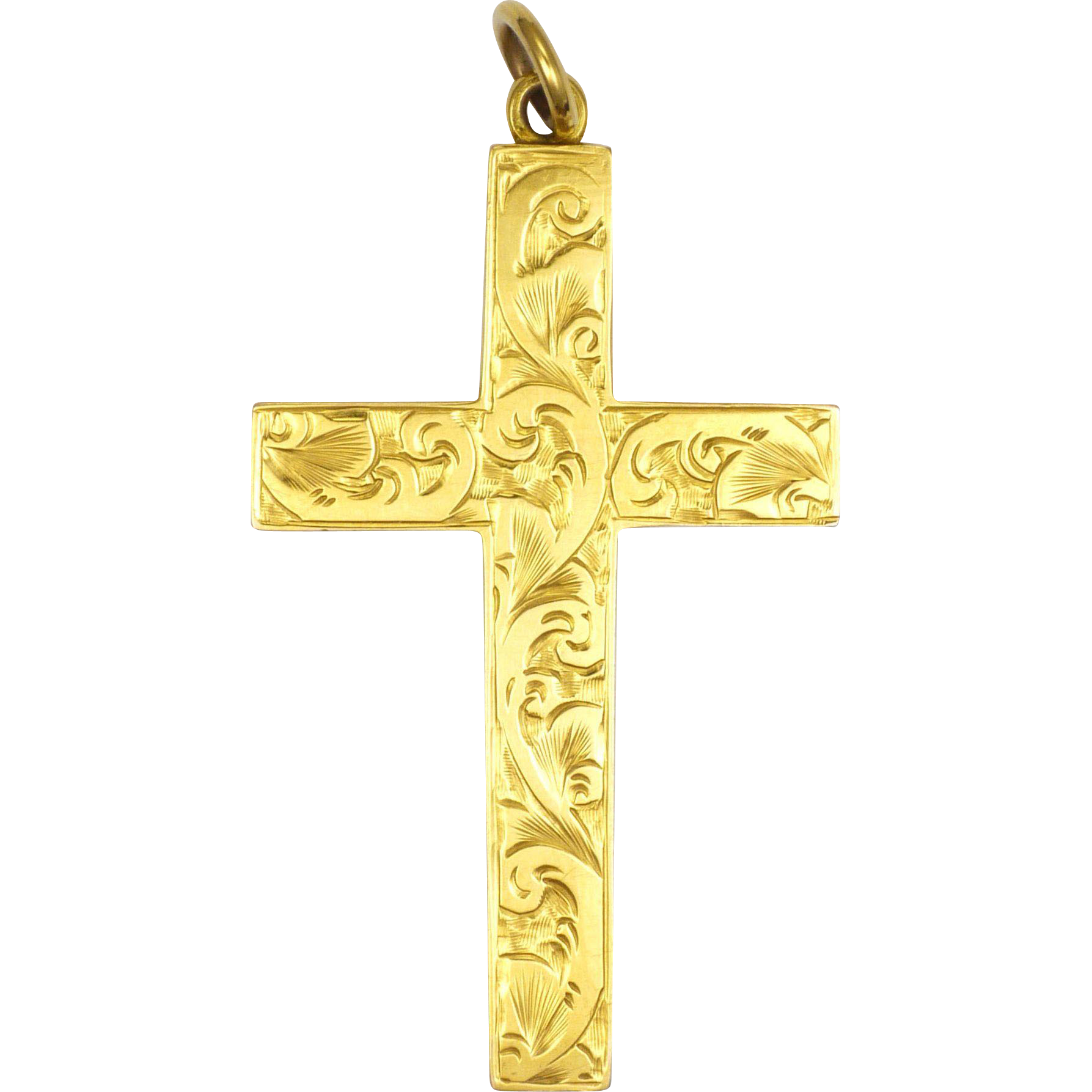 English circa 1900 9k gold engraved cross pendant fbs suzys english circa 1900 9k gold engraved cross pendant fbs suzys treasures on earth ruby lane aloadofball Images