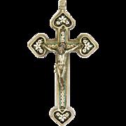 Italian Circa 1900 Micro-Mosaic Crucifix Cross