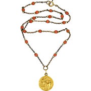 French Circa 1900 Short Coral Rosary and Gold Filled Virgin of Carmel Medal