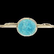English Art Deco St Christopher Silver Enamel Pin