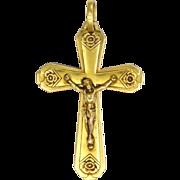 French Art Deco Gold Filled Crucifix - ORIA