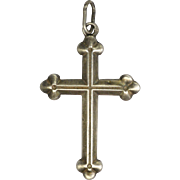 French Victorian Silver Small Cross Pendant or Charm