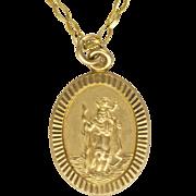 9K Gold St. Christopher Pendant Necklace