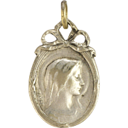 French Small Silver Mary Medal or Charm - E DROPSY
