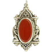 French Victorian Silver and Agate Angel Reliquary