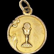 French Art Nouveau Gold Filled Communion Medal or Pendant - FIX
