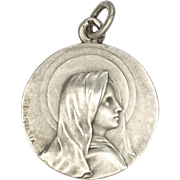 French  Circa 1900 Silver Virgin Mary Medal - S KINSEURGER