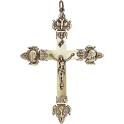 French Mother of Pearl and Silver Confirmation Cruifix