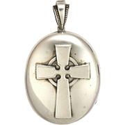 Victorian Sterling Silver Celtic Cross Locket