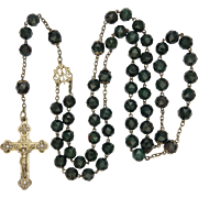 French Victorian Bloodstone Agate and Silver Rosary with Crucifix