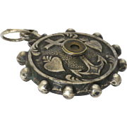 French Victorian Silver Faith Hope and Charity Stanhope Pendant
