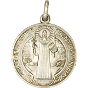 French St Benedict Large Thickly Silver Plated Medal