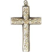 English Antique Cross Sterling Silver with 9K Appliqué Flowers