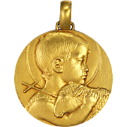 French Child John the Baptist Large Gold Plated Bronze Medal