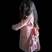 Vintage Pink Cotton Velvet Silk Ruffle Doll Dress