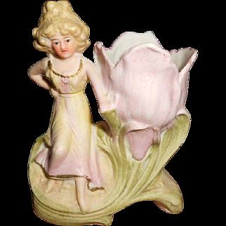 Art Nouveau Amphora Style Miniature Lady Figural Vase