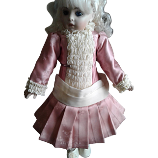 Antique Style Pink Silk Brocade and Cream Ruched Doll Dress