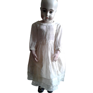 """Antique Sheer White 13"""" Doll Chemise with Lace Inserts"""